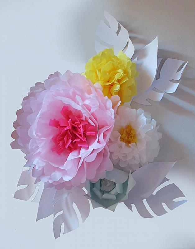 Décor floral origami pour intérieur des boutiques