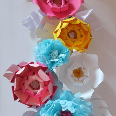 Décor floral origami papier Canson et papier de soie