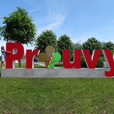 Lettres géantes ville de Prouvy avec Mme Isabelle Choain, maire et conseillère départementale